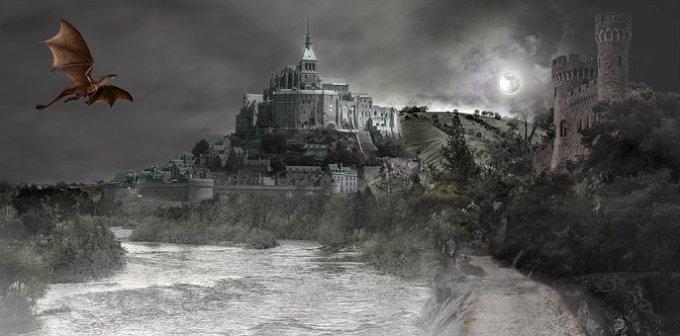 fantasy, dragon, castle