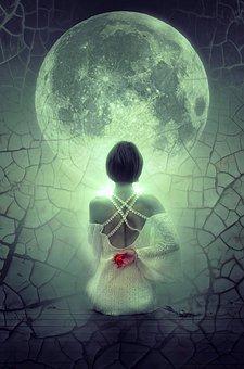 fantasy woman and moon