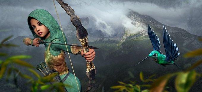 fantasy archer, hummingbird