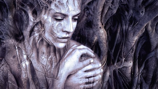 woman, textures of wood
