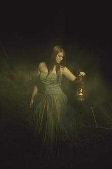 girl with lantern, mysterious