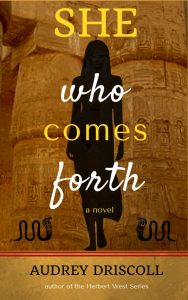 Cover image for She Who Comes Forth created with Canva