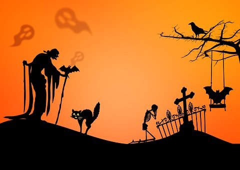 witch, cat, and skeleton