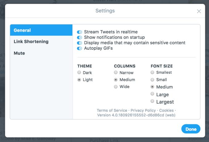 TweetDeck Settings
